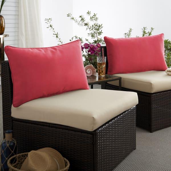 Sunbrella Dupione Crimson Set of 2 Outdoor Lumbar Pillows