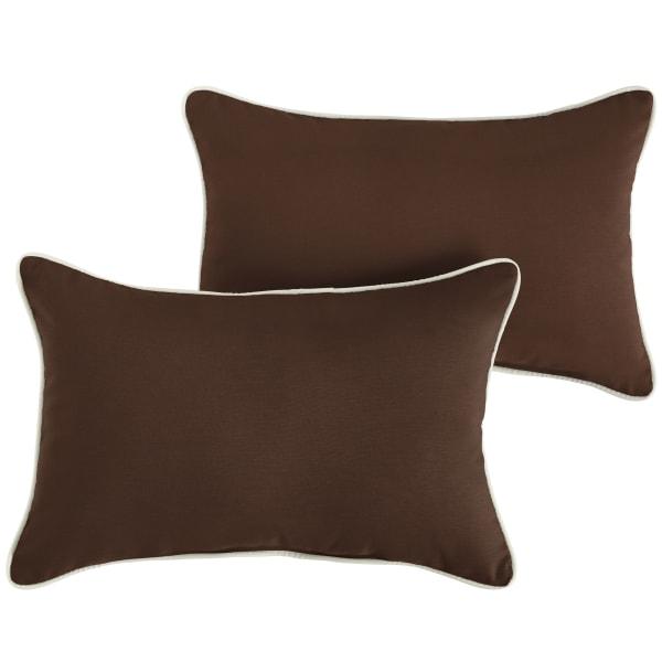 Sunbrella Canvas Bay Brown/Canvas Natural Set of 2 Outdoor Lumbar Pillows