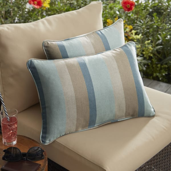 Sunbrella Gateway Mist Set of 2 Outdoor Lumbar Pillows