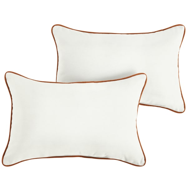 Sunbrella Natural/Canvas Rust Set of 2 Outdoor Lumbar Pillows