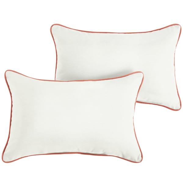 Sunbrella Natural/Melon Set of 2 Outdoor Lumbar Pillows