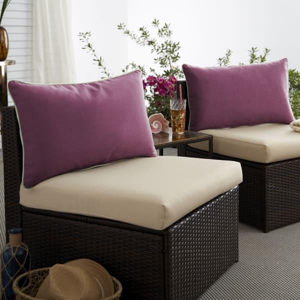 Sunbrella Iris/Natural Set of 2 Outdoor Lumbar Pillows
