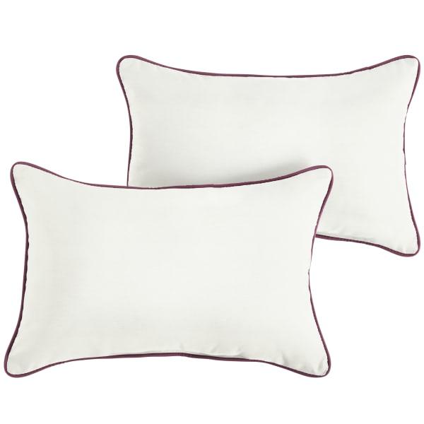 Sunbrella Natural/Iris Set of 2 Outdoor Lumbar Pillows