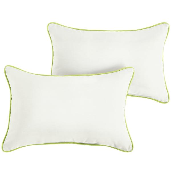 Sunbrella Canvas Natural Macaw Set of 2 Outdoor Lumbar Pillows