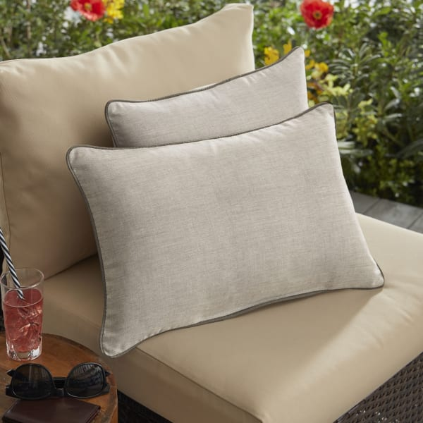 Sunbrella Cast Silver Taupe Set of 2 Outdoor Lumbar Pillows