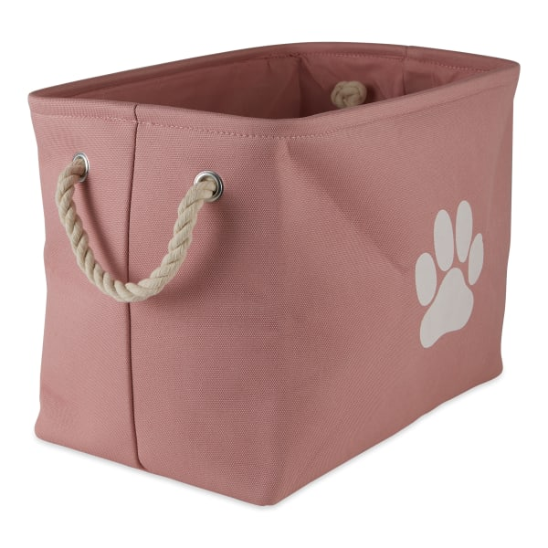 Rose Paw Polyester Rectangle Small Pet Bin