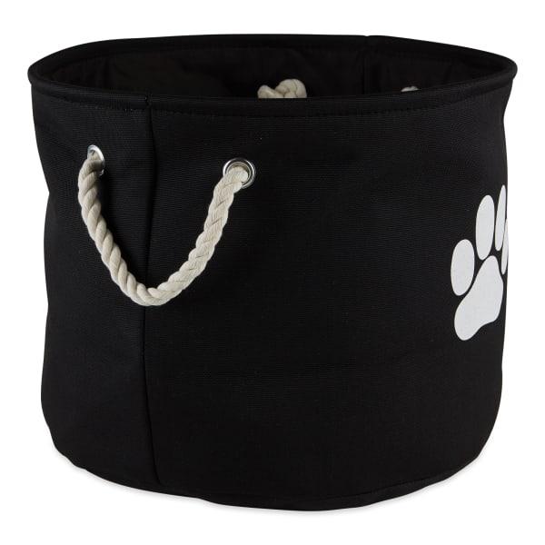 Black Paw Polyester Round Small Pet Bin