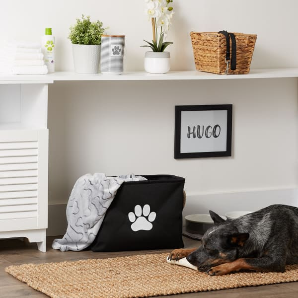 Black Paw Polyester Rectangle Medium Pet Bin