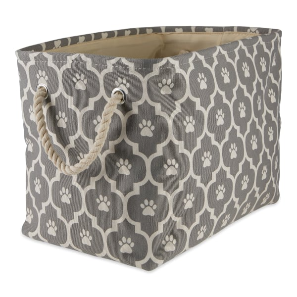 Gray Lattice Paw Polyester Rectangle Large Pet Bin