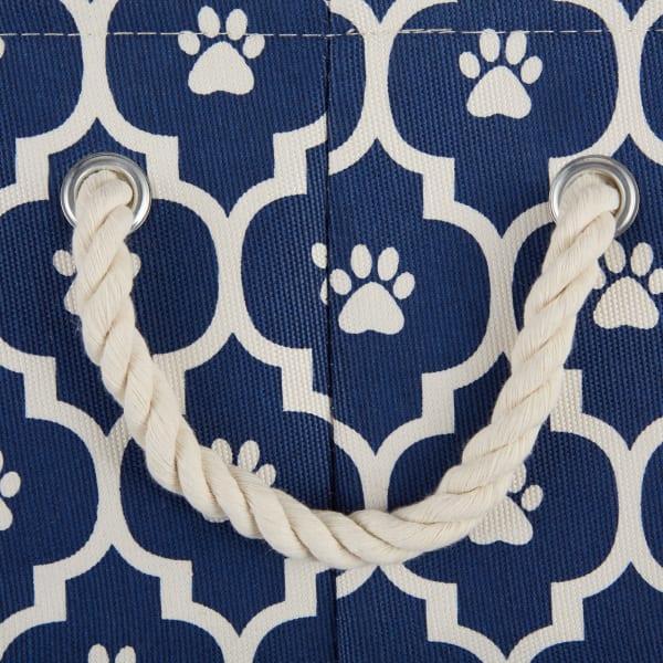 Nautical Blue Lattice Paw Polyester Round Small Pet Bin