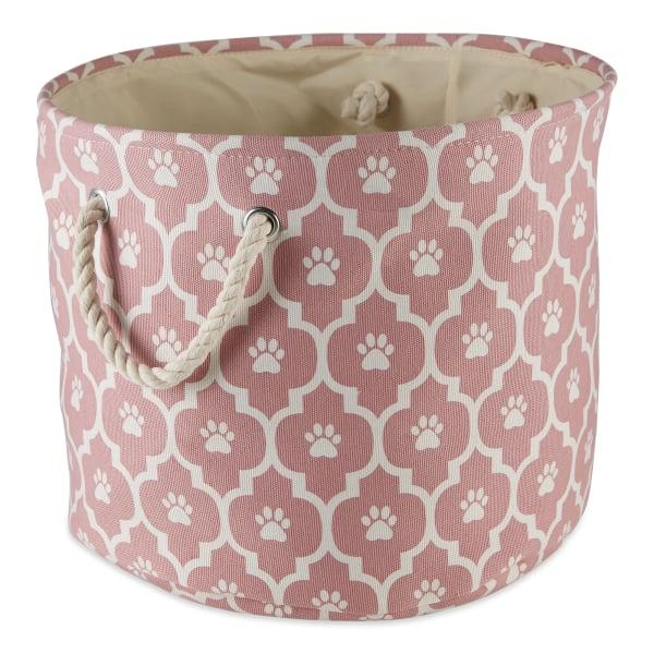 Rose Lattice Paw Polyester Round Small Pet Bin
