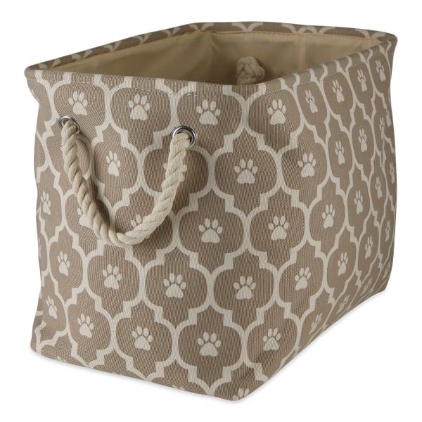 Stone Lattice Paw Polyester Rectangle Small Pet Bin