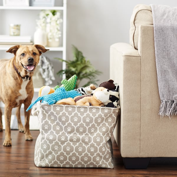 Stone Lattice Paw Polyester Rectangle Large Pet Bin