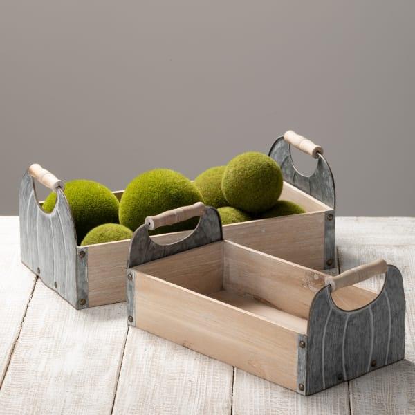 Wood Metal Set of 2 Trays