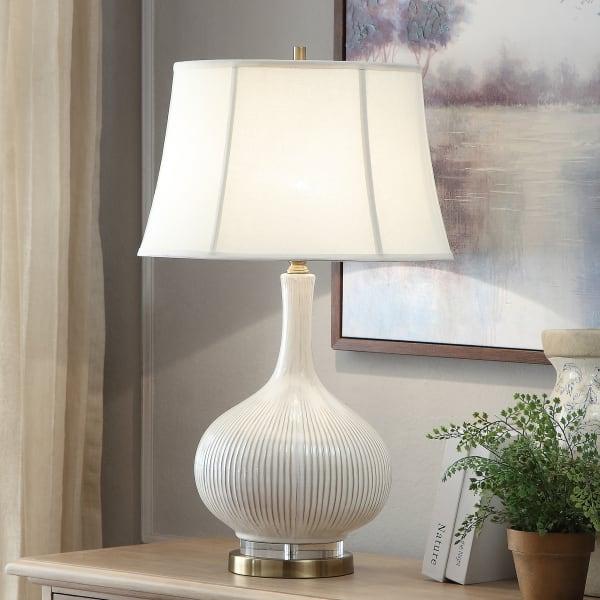Devon Crystal Ceramic White Table Lamp
