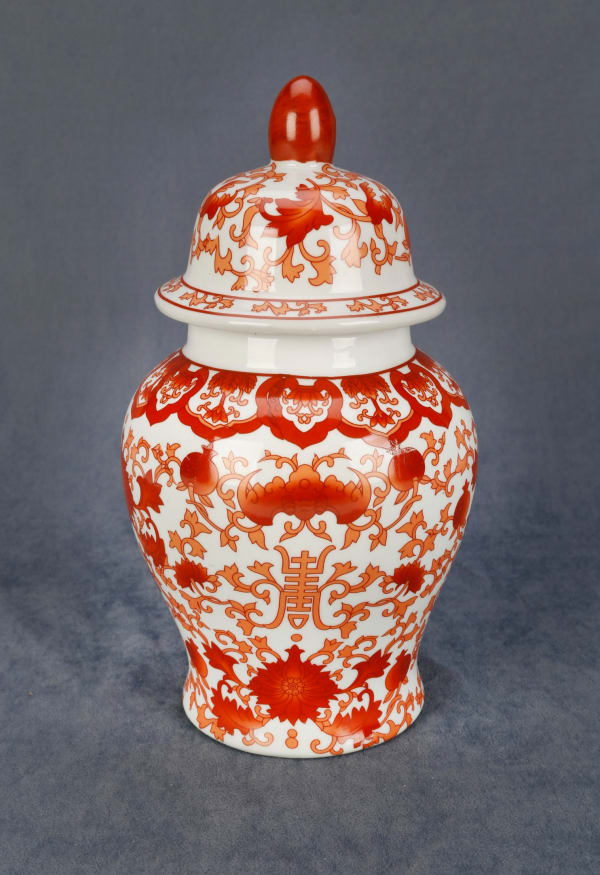 Red and White Ginger Jar