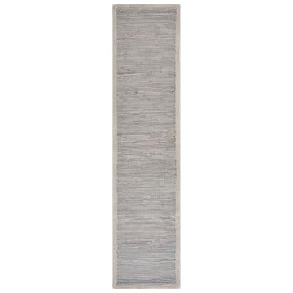 Bordered Light Gray Table Runner