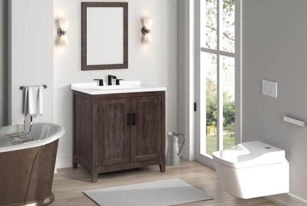 Claremont Distressed Brown Single Bathroom Vanity Pier 1