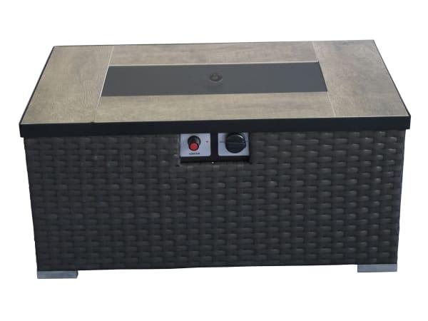 Auburn Dark Brown Woven Gas Fire Pit Table