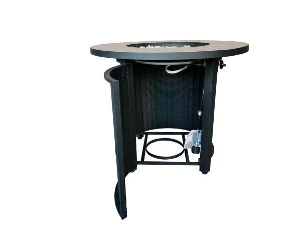 Jambi Black Metal and Tile Round Fire Pit with Glass Rocks