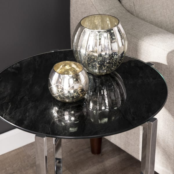 Tring Faux Marble Glass Top End Table