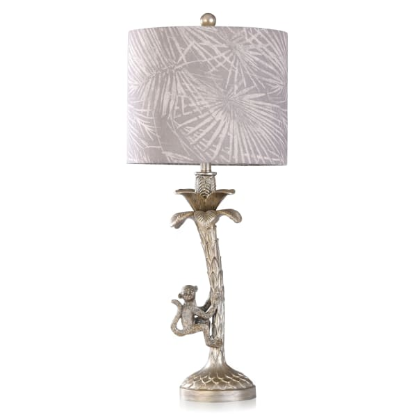 Silver Monkey In Palm Tree Moulded Candlestick Table Lamp