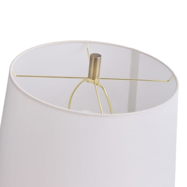 Ribbed Plated Smoke Glass Globe Table Lamp