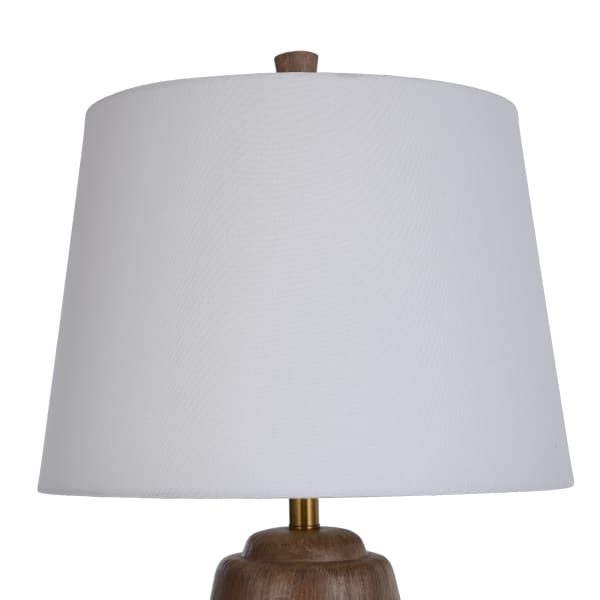 Round Faux Wood Table Lamp