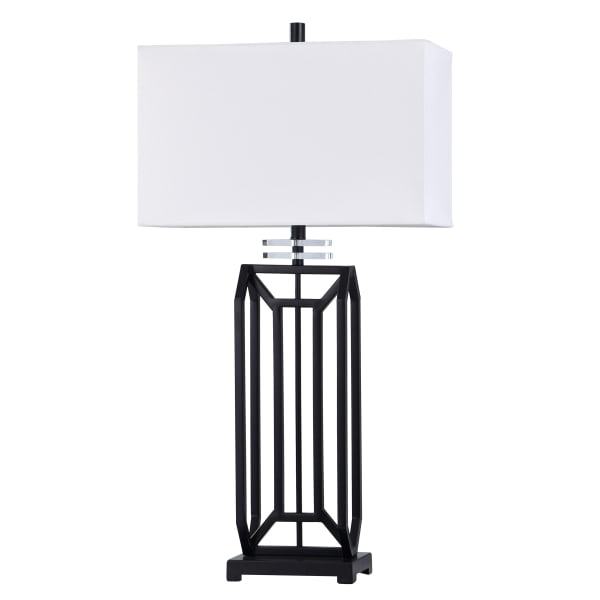 Black Iron with Crystal Ring Table Lamp