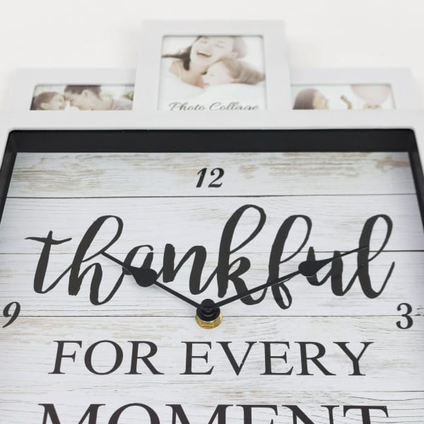 Thankful White Picture Frame Collage Wall Clock