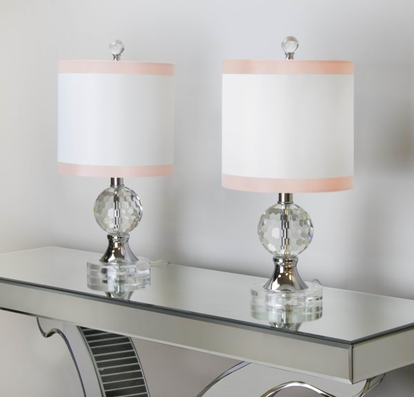 Clear Crystal Accent Set of 2 Table Lamps