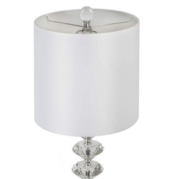 Stacked Diamond Design Genuine Clear Crystal Set of 2 Table Lamps