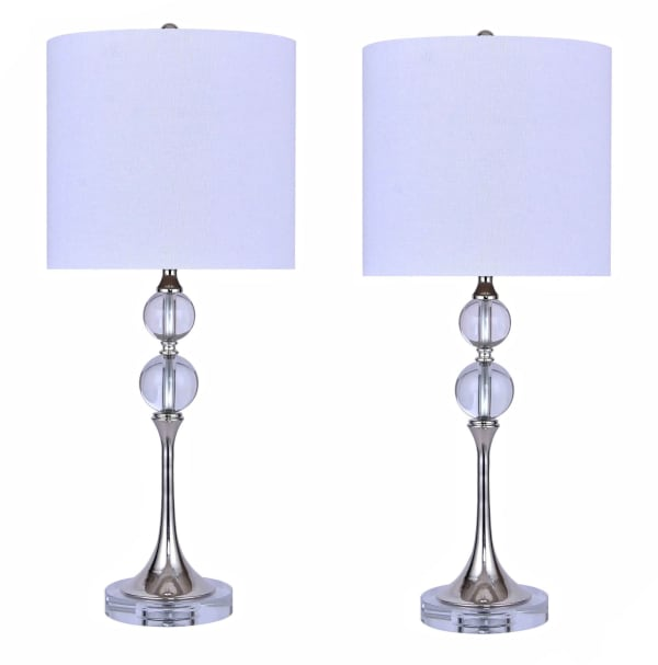 Genuine Crystal with Polished Nickel Accents Set of 2 Table Lamps