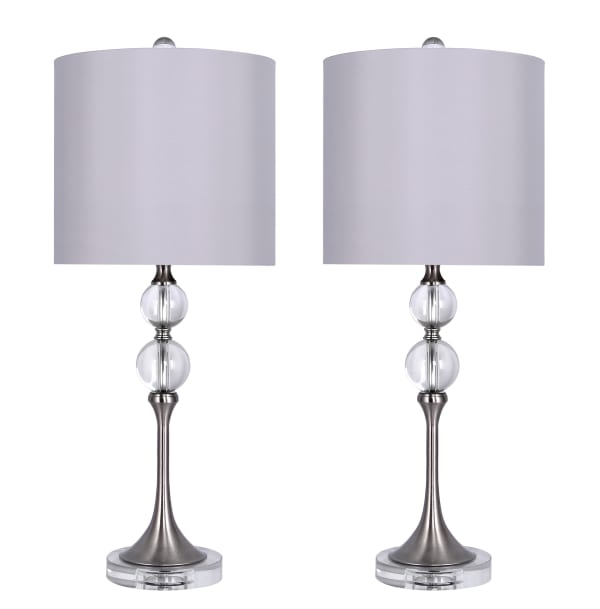 Crystal Stacked Orbs & Brushed Nickel Finish Set of 2 Table Lamps