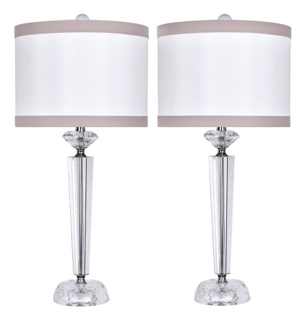 Crystal With Polished Nickel Set of 2 Table Lamps