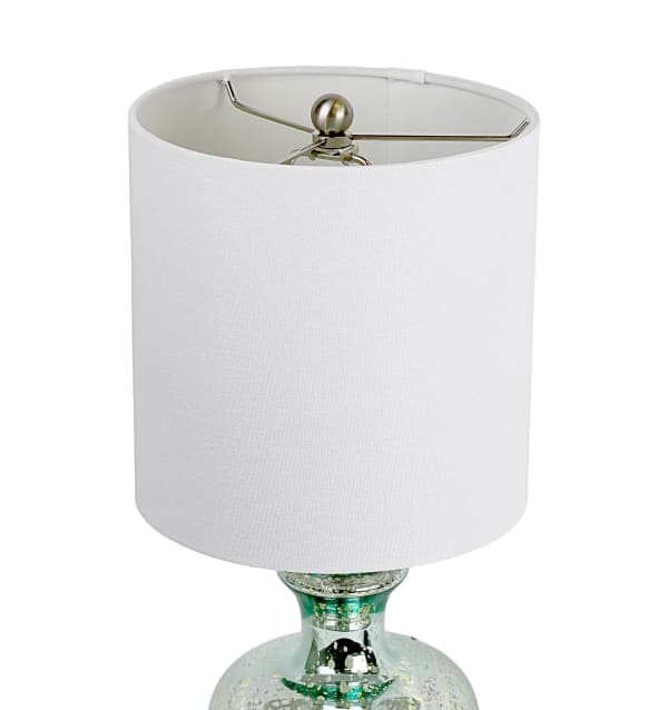 Turquoise Glass with Brushed Nickel Finish Table Lamp