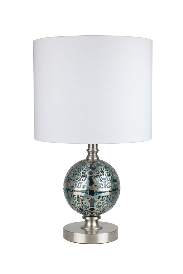 Brushed Nickel with Clear Teal Blue Glass Table Lamp