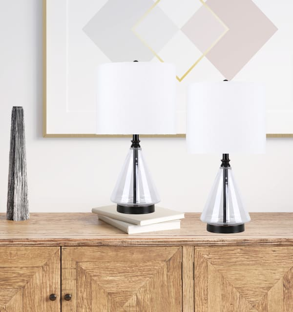 Clear Glass with Oil-Rubbed Bronze Accents Set of 2 Table Lamps