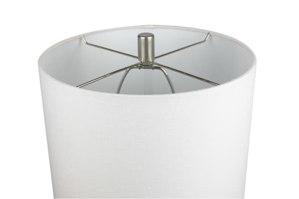 Sapphire Blue Glass with White Fabric Drum Shade Table Lamp