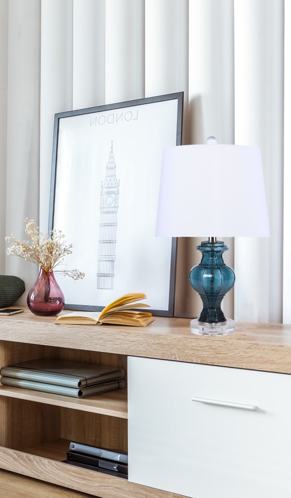 Clear Seeded Sapphire Glass Accent Table Lamp