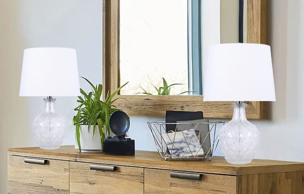 Clear Glass with Patterned Base Set of 2 Table Lamps