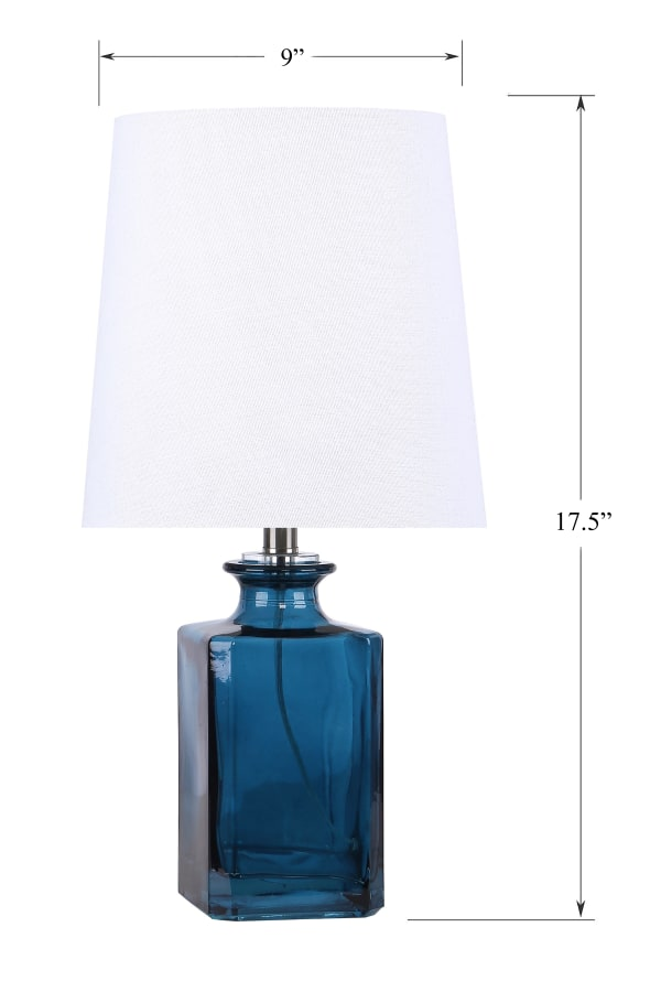 Sapphire Blue Glass Set of 2 Table Lamps