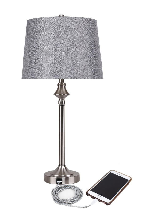 Brushed Nickel Floor Lamp and Brushed Nickel Set of 2 Table Lamps