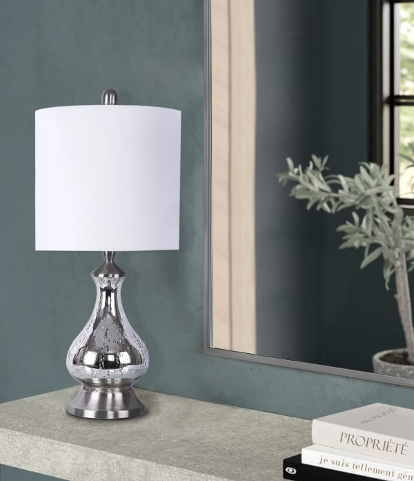 Silver Acid Mirror Glass Accent Table Lamp