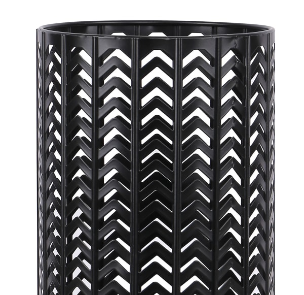 Metal with Chevron Design and Black Finish Accent Table Lamp