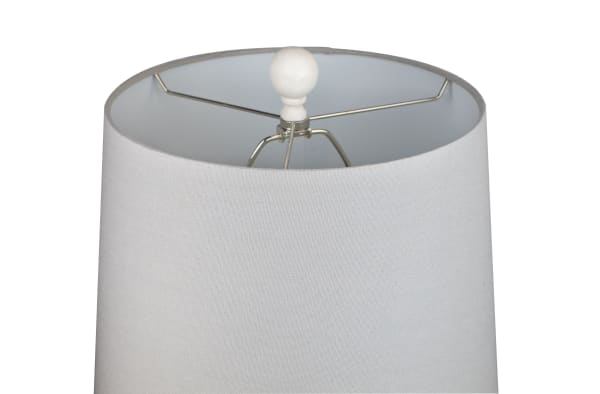 Distressed Grey Off White Poly Resin Set of 2 Table Lamps
