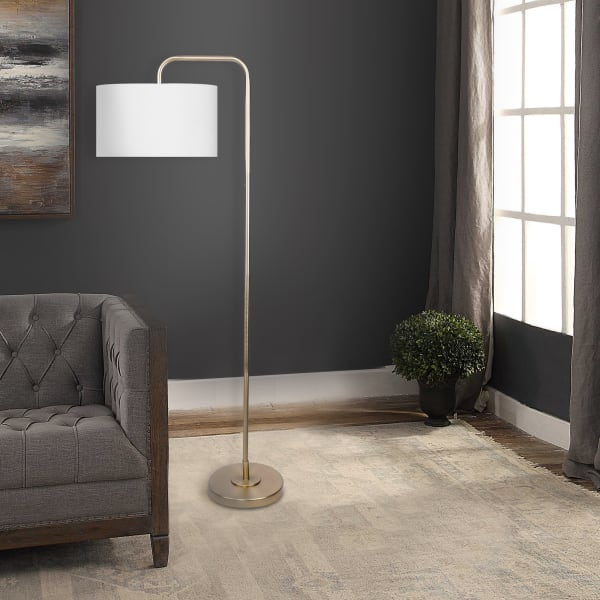 Plated Gold Arc Floor Lamp