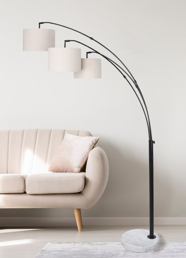 Oil Bronze with Three Lights and  Arched Design Floor Lamp