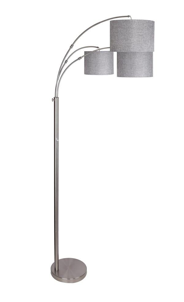 Brushed Nickel with Three Lights and  Arched Design Floor Lamp