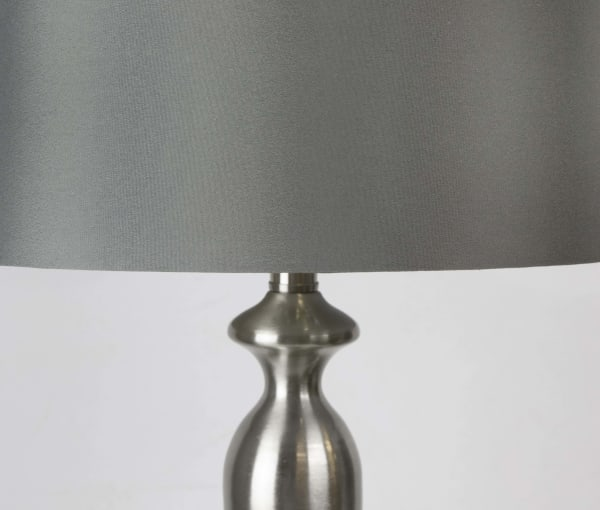 Brushed Nickel Body with Dark Grey Set of 2 Table Lamps
